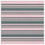 [ Thumbnail: Dark Slate Gray & Pink Lines Pattern Fabric ]