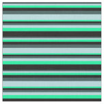 [ Thumbnail: Dark Slate Gray, Powder Blue, Green & Black Lines Fabric ]