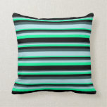 [ Thumbnail: Dark Slate Gray, Powder Blue, Green & Black Lines Throw Pillow ]