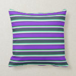 [ Thumbnail: Dark Slate Gray, Purple, Light Yellow & Aquamarine Throw Pillow ]