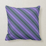[ Thumbnail: Dark Slate Gray & Purple Pattern of Stripes Pillow ]