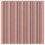 [ Thumbnail: Dark Slate Gray & Salmon Colored Stripes Fabric ]