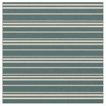 [ Thumbnail: Dark Slate Gray & Tan Lined/Striped Pattern Fabric ]