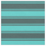 [ Thumbnail: Dark Slate Gray & Turquoise Colored Stripes Fabric ]