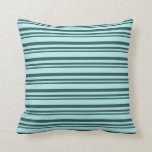 [ Thumbnail: Dark Slate Gray & Turquoise Stripes/Lines Pattern Throw Pillow ]