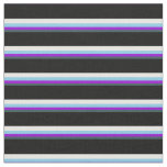 [ Thumbnail: Dark Slate Gray, Violet, Sky Blue, White & Black Fabric ]