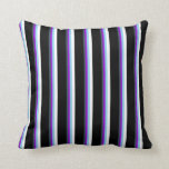 [ Thumbnail: Dark Slate Gray, Violet, Sky Blue, White & Black Throw Pillow ]