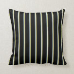 [ Thumbnail: Dark Slate Gray, White, Dark Khaki & Black Colored Throw Pillow ]