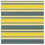 [ Thumbnail: Dark Slate Gray, Yellow & Bisque Colored Stripes Fabric ]