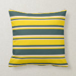[ Thumbnail: Dark Slate Gray, Yellow & Bisque Colored Stripes Throw Pillow ]