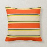 [ Thumbnail: Dark Slate Gray, Yellow, Tan, Red, and White Throw Pillow ]