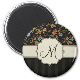 Dark Slavic Style Floral Fridge Magnet