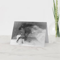Dark Snow Horse - Horse Greeting Card