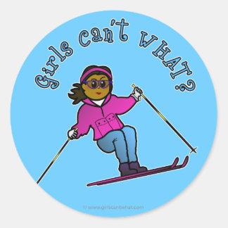 Dark Snow Skier Round Sticker