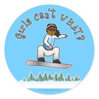 Dark Snowboarder Classic Round Sticker