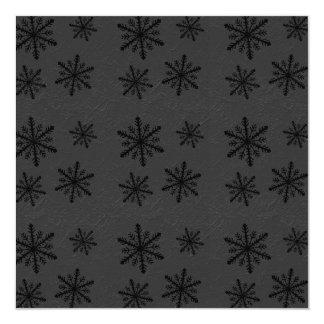 """Dark Snowflake Pattern 2 Invites 5.25"""" Square Invitation Card"""