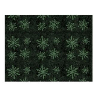 Dark Snowflake Pattern Green Christmas Holidays Postcard