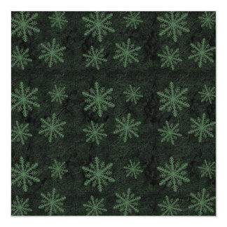 """Dark Snowflake Pattern Green Invites 5.25"""" Square Invitation Card"""