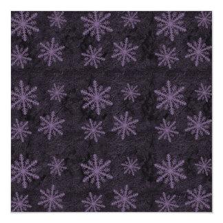 """Dark Snowflake Pattern Purple Invites 5.25"""" Square Invitation Card"""