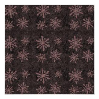 "Dark Snowflake Pattern Red Invites 5.25"" Square Invitation Card"