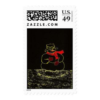 Dark Snowman Christmas Postage