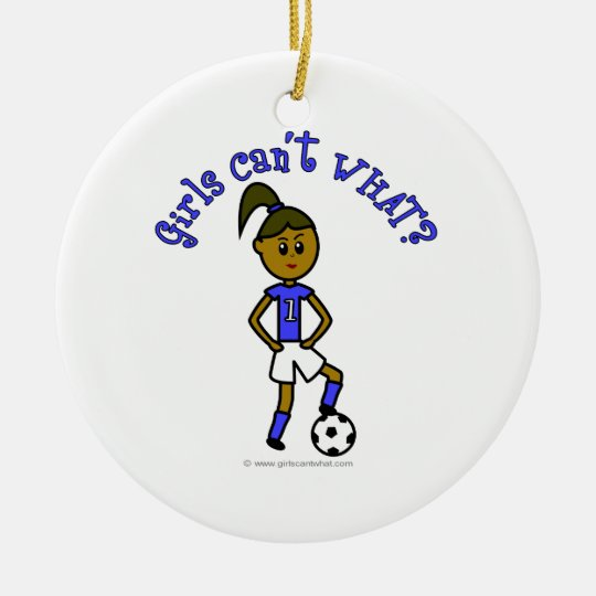 Dark Soccer Girl in Blue Ceramic Ornament