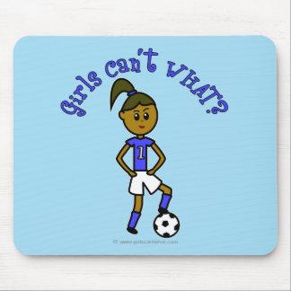 Dark Soccer Girl in Blue Mouse Pad