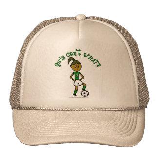 Dark Soccer Girl in Green Trucker Hat