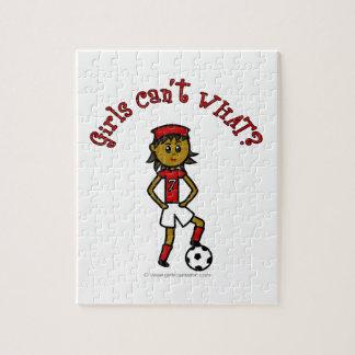 Dark Soccer Girl in Red Uniform Puzzle