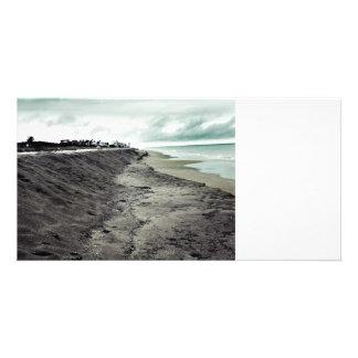 dark somber beach view card