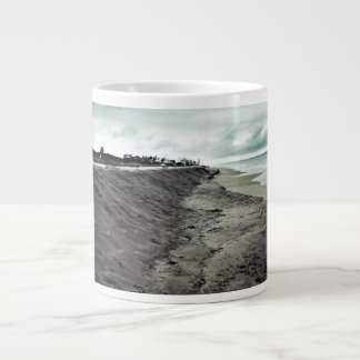 dark somber beach view giant coffee mug