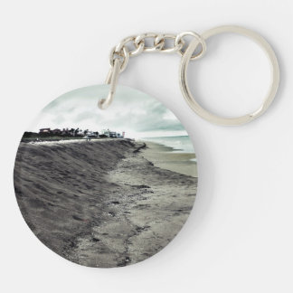 dark somber beach view keychain