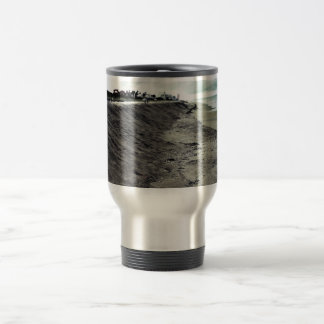 dark somber beach view coffee mugs