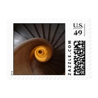 Dark Spiral Stairs Photo Postage Stamp