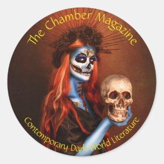 Dark spirit woman with skull classic round sticker