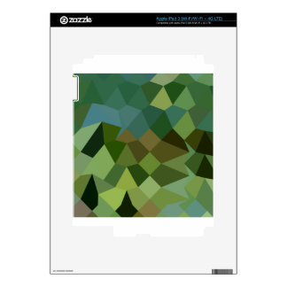 Dark Spring Green Abstract Low Polygon Background Skin For iPad 3