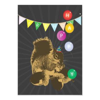 Dark Squirrel & Hazel Nuts Birthday Invitations