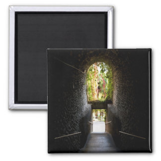 Dark stairs with a stone archway that going down 2 inch square magnet