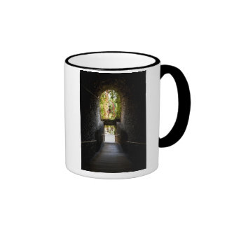 Dark stairs with a stone archway that going down mugs