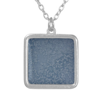 Dark Steel Blue Icy Crystals Silver Plated Necklace
