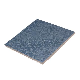 Dark Steel Blue Icy Crystals Tile