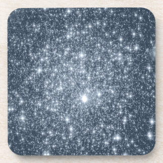 Dark Steel Blue Stars Beverage Coaster