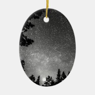 Dark Stellar Universe Double-Sided Oval Ceramic Christmas Ornament