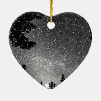 Dark Stellar Universe Double-Sided Heart Ceramic Christmas Ornament