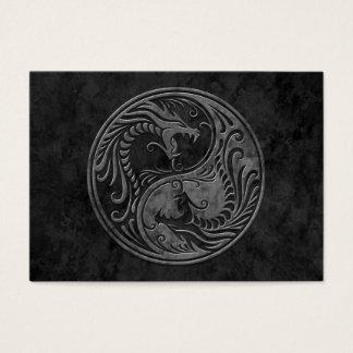 Dark Stone Yin Yang Dragons Business Card