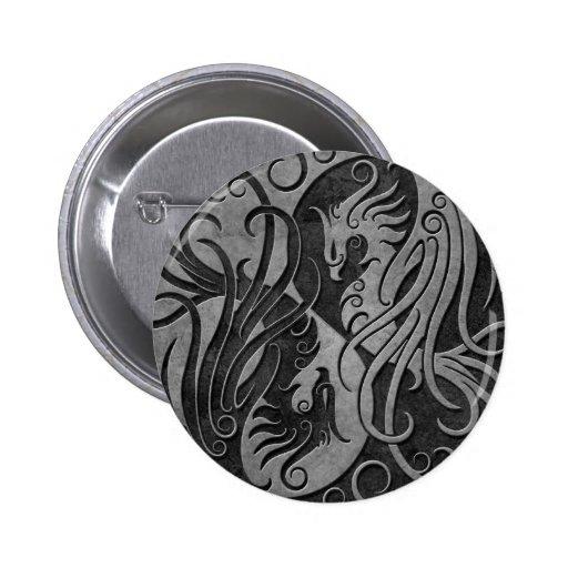Dark Stone Yin Yang Phoenix Pinback Button