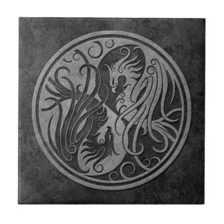 Dark Stone Yin Yang Phoenix Small Square Tile