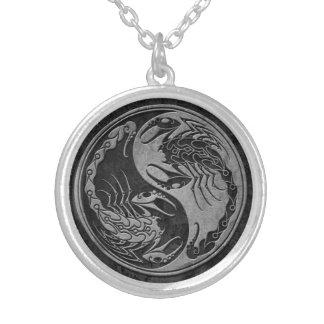 Dark Stone Yin Yang Scorpions Round Pendant Necklace