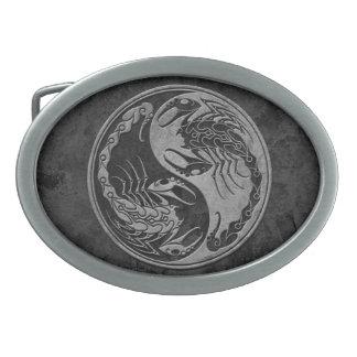 Dark Stone Yin Yang Scorpions Oval Belt Buckle