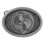 Dark Stone Yin Yang Scorpions Oval Belt Buckles